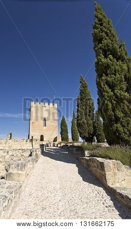 View of the Alcazar tower of homage inside the Fortaleza de La Mota near the town of Alcala la Real Spain