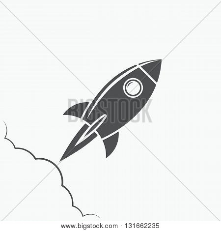 Rocket icon rocket logo rocket emblem on white background