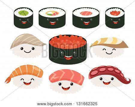 Cartoon japanese food. Vector set sushi cartoon characters. Smile sushi roll and sashimi set. Funny characters sushi. Sushi roll funny set. Japanese food vector illustration isolated on white background