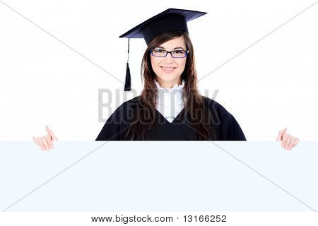 Educational theme: graduating student girl in an academic gown holding a billboard. Isolated over white background.