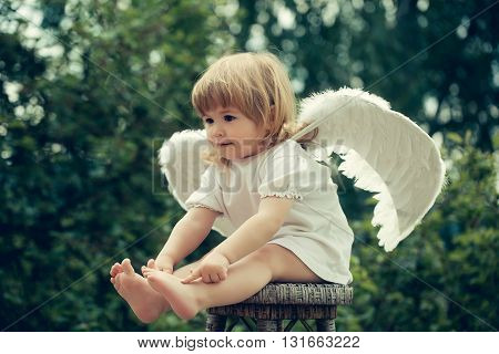 Cute cupid with white wings. Little boy dressed as angel on a chair