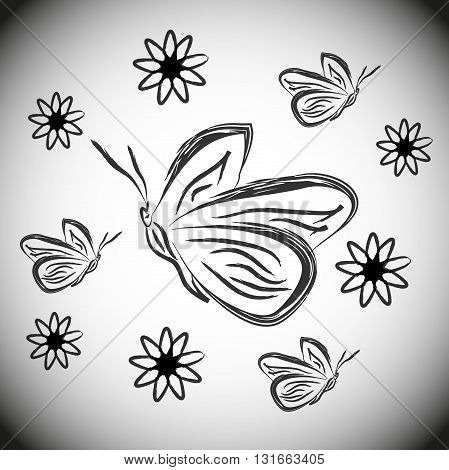 butterflies and flowers. Black and white silhouette sketch butterflies and flowers
