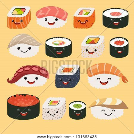 Funny sushi characters. Funny sushi with cute faces. Sushi roll and sashimi set. Happy sushi characters. Sushi roll funny set. Asian food vector illustration isolated on white background
