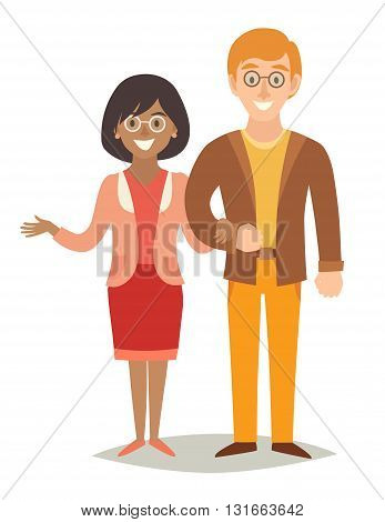 International family. Happy family. European man and african-american woman couple. Cartoon characters happy family. Flat style vector illustration isolated on white background