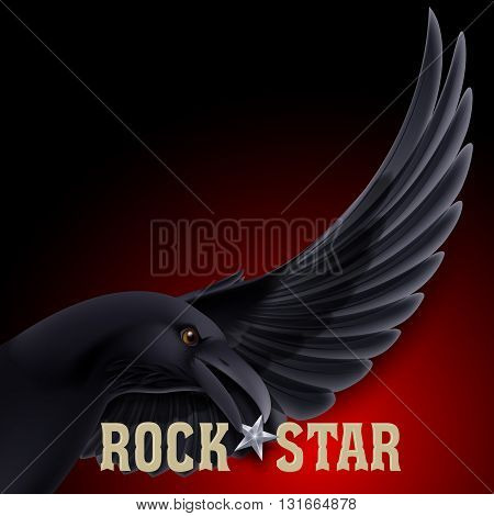 Rock Star concept with raven holding star in its beak over dark red background