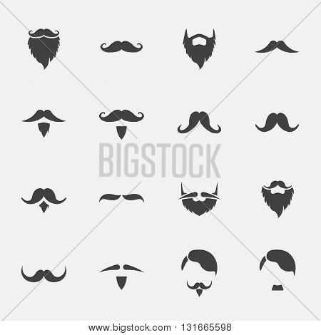 Mustache And Beard Icons Set . vector