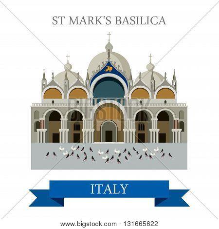 Saint Mark Basilica Venice Italy flat vector attraction landmark