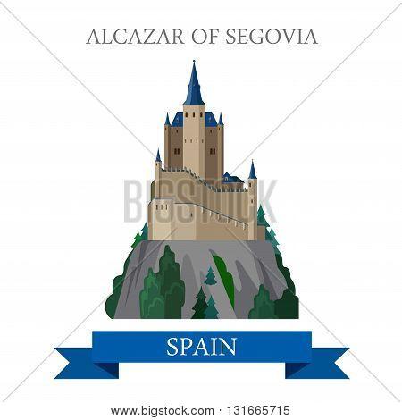 Alcazar of Segovia Spain flat vector attraction sight landmark