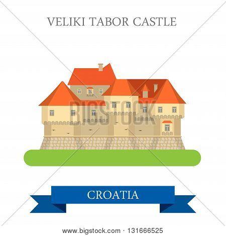 Veliki Tabor Castle Zagorje Croatia flat vector attraction sight