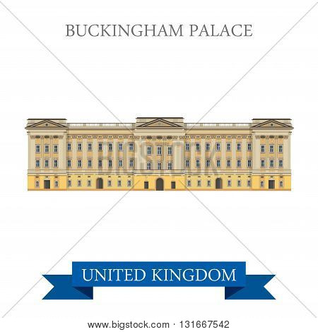 Buckingham Palace in London, Great Britain, United Kingdom. Flat cartoon style historic sight showplace attraction web site vector. World countries cities vacation travel sightseeing collection. poster