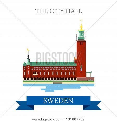 City Hall Stockholm Sweden flat vector attraction sight landmark