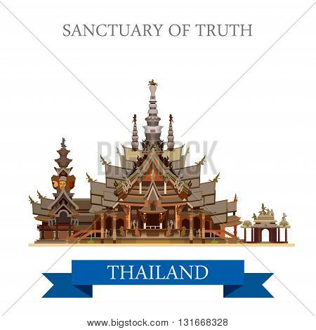 Sanctuary of Truth Thailand vector flat attraction travel
