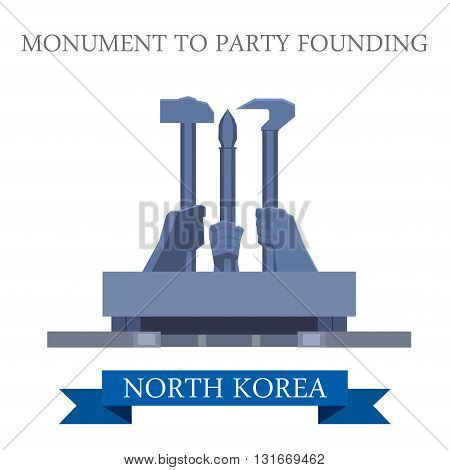 Monument to Party Founding Pyongyang North Korea vector landmark