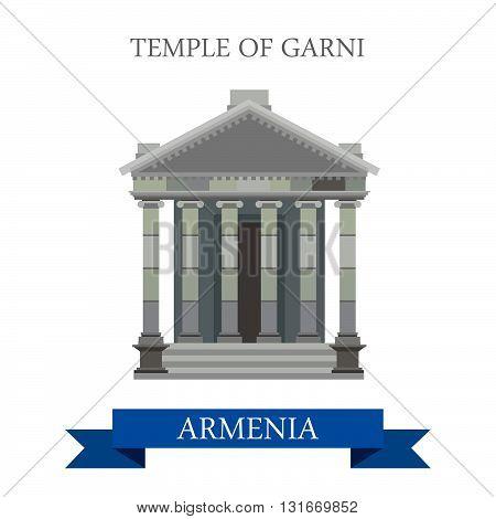 Temple of Garni Armenia landmarks vector flat attraction travel
