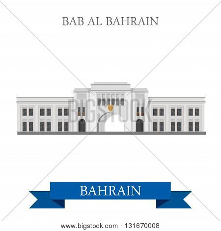 Bab Al Bahrain landmarks vector flat attraction travel