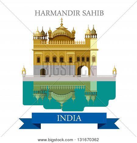 Harmandir Sahib sikhism temple in India vector flat attraction