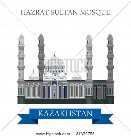 Hazrat Sultan Mosque in Astana Kazakhstan vector flat attraction