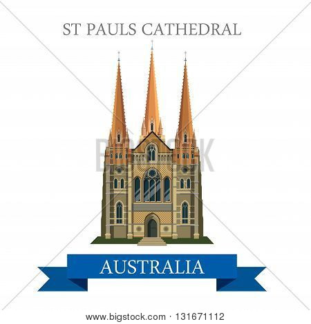 St Pauls Cathedral Melbourne Australia vector flat landmarks