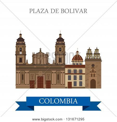 Plaza de Bolivar Bogota Colombia vector flat attraction landmark