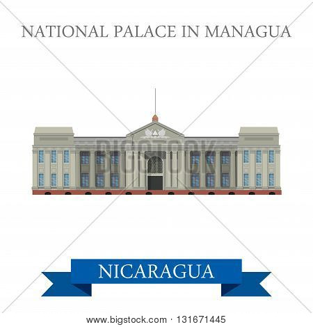 National Palace in Managua Nicaragua vector flat attraction