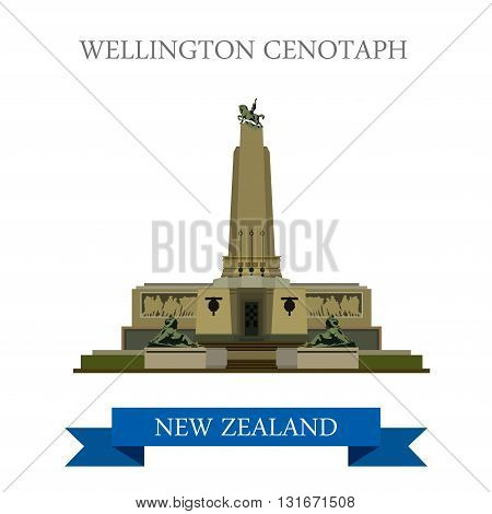 Wellington Cenotaph New Zealand vector flat attraction landmarks