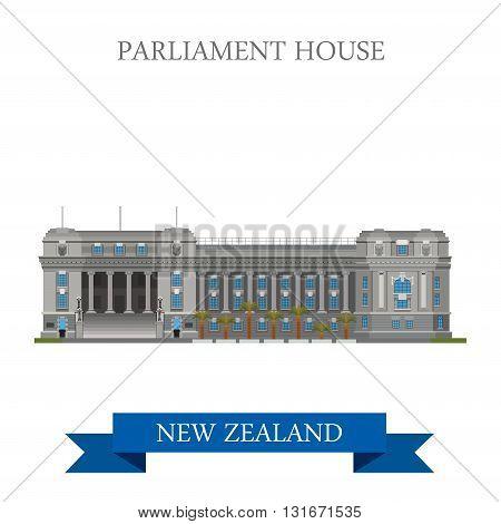 Parliament House Wellington New Zealand vector flat attraction
