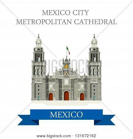 Mexico City Metropolitan Cathedral vector flat attraction