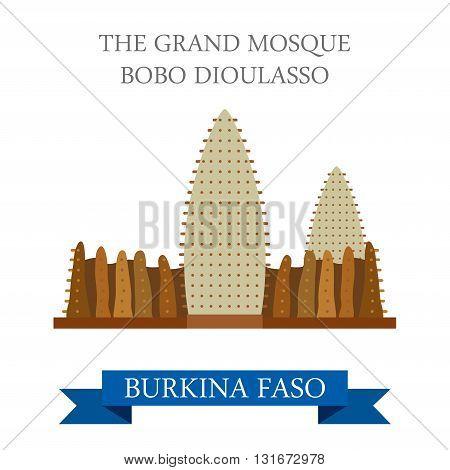 Grand Mosque Bobo Dioulasso Burkina Faso vector flat Africa