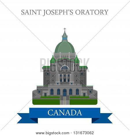 Saint Joseph Oratory in Montreal Canada vector flat attraction
