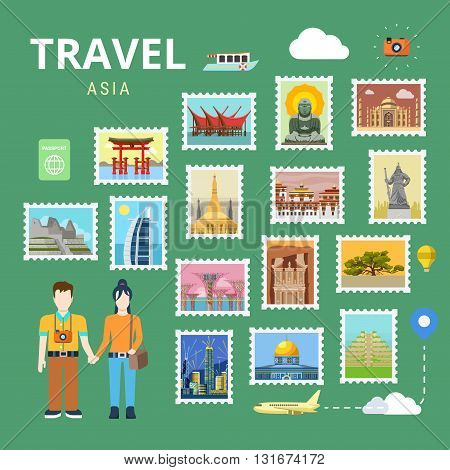 Travel Asia China Japan India flat vector tourism template