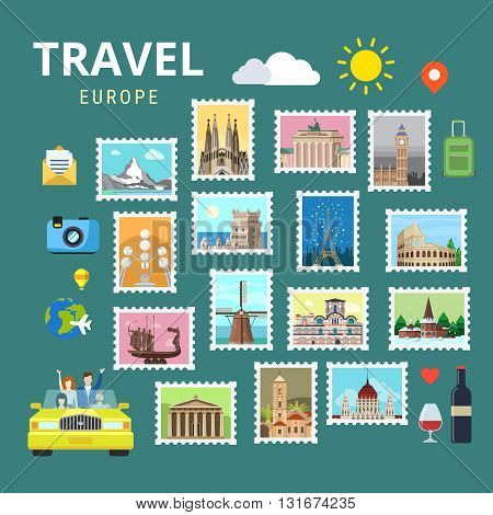 Travel Europe England Italy France Austria Ukraine flat vector