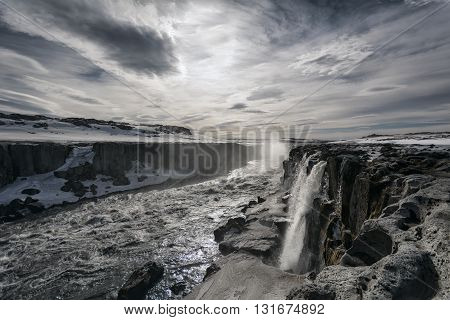 Detifoss Waterfall In Northern Iceland