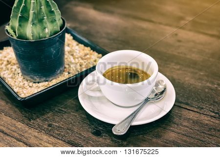 Cup Of Coffee On The Table In The Morning,selective Focus