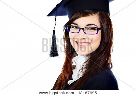 Educational theme: graduating student girl in an academic gown. Isolated over white background.