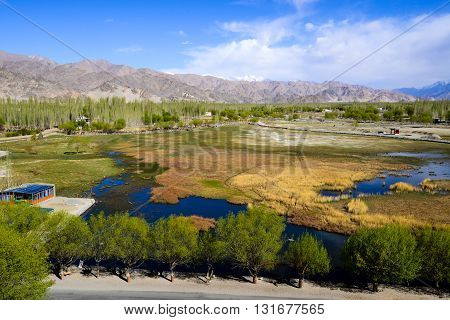 Beautiful landscape in Ladakh, India, view from Shey Palace.