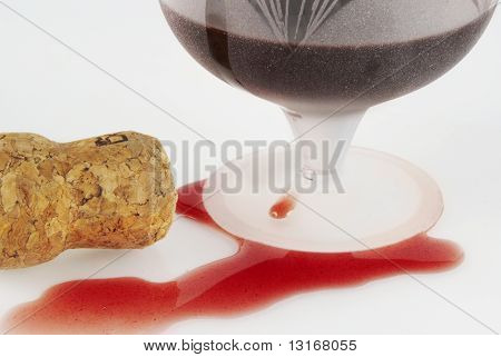 Poured Out Wine, Glass And Winy Cork