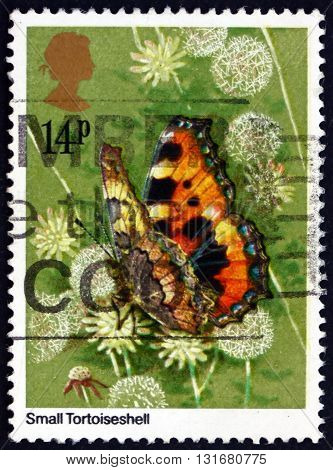 GREAT BRITAIN - CIRCA 1981: a stamp printed in the Great Britain shows Small Tortoiseshell Aglais Urticae Eurasian Butterfly circa 1981