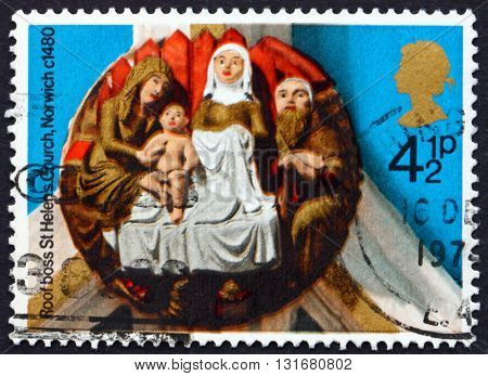 GREAT BRITAIN - CIRCA 1974: a stamp printed in the Great Britain shows Nativity St. Helen's Norwich about 1480 circa 1974