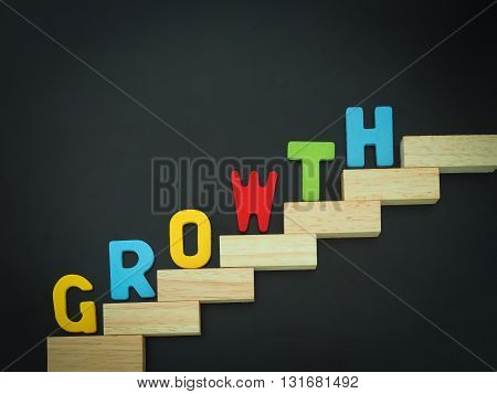 Wood block stacking as step stair with colorful of