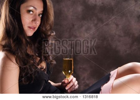 Latin Girl With Champagne