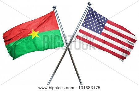 Burkina Faso flag with american flag, isolated on white backgrou