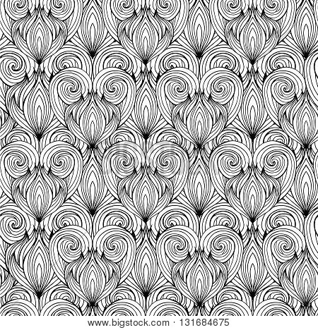 Seamless texture with black and white doodle hearts with the hair pattern. Vector background for greeting cards invitations cards and your design.
