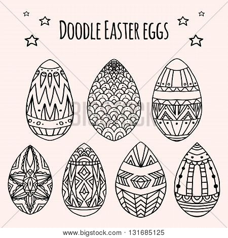 Set of festive doodle eggs with boho pattern. Vector element for greeting cards and your design