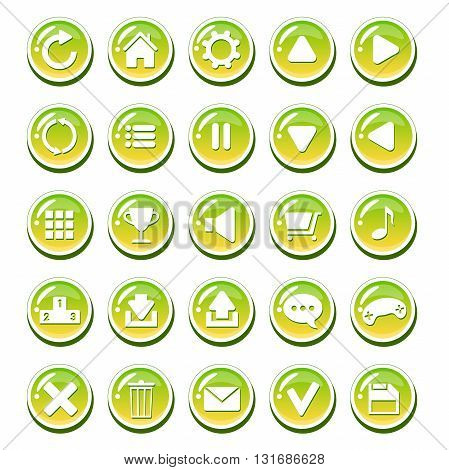 Set of yellow green glassy buttons for interfaces (game interface, app user interface). Vector GUI elements for mobile game or PC game. Isolated on white background