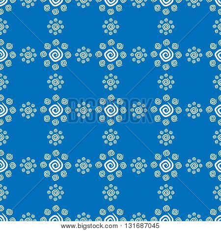 Seamless pattern white curlicues on blue background