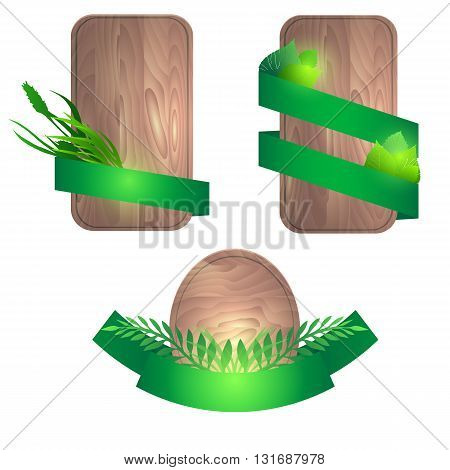 Set of wooden boards with green ribbons and leaves. Vector element for banners advertisements ads and your design
