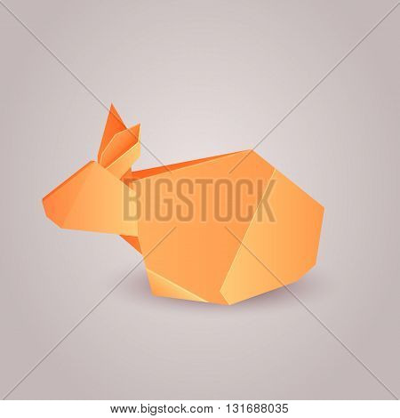 Illustration of origami paper rabbit separately from the background. Vector element for your design