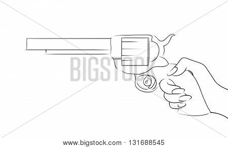 Illustration with contour of a female hand with a gun to your creativity