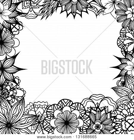 Square frame with black and white doodle flowers. Vector element for invitations greeting cards and your creativity
