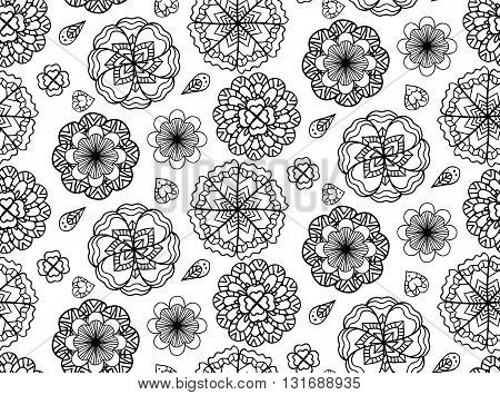 Seamless black and white texture with doodle flowers. Vector background for your creativity